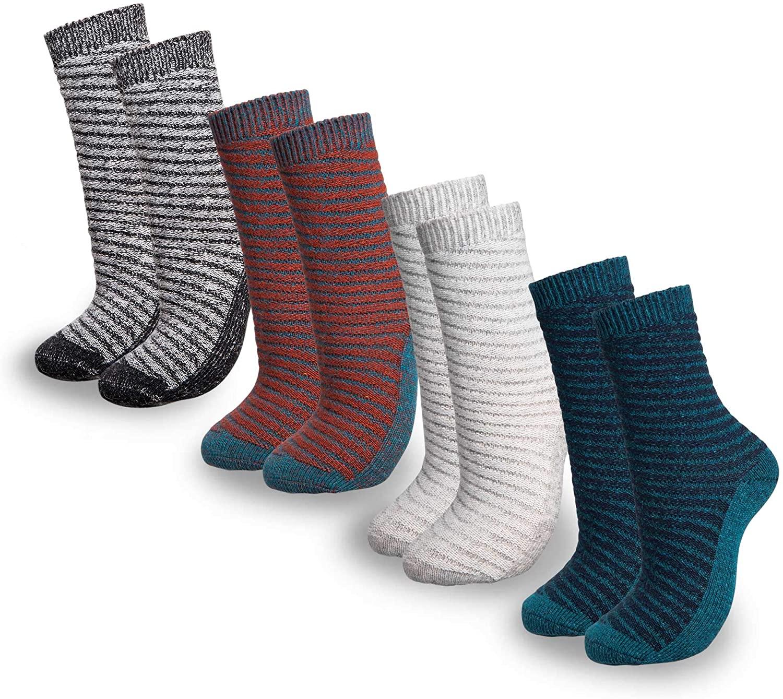 Mio Marino Women's Warm Wool Socks - Soft Cozy Thick Knitted Socks - 4 Pack - Gift Box
