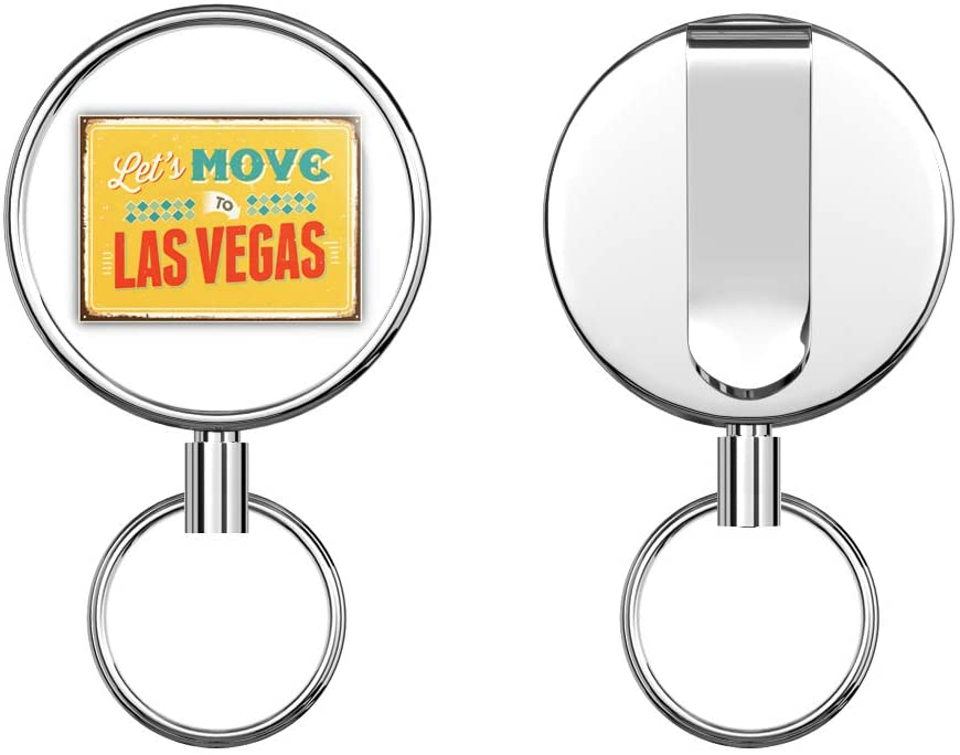 Lets Move to Las Vegas Vintage Travel Label Round ID Badge Key Card Tag Holder Badge Retractable Metal Reel Badge and Key Holder with Belt Clip
