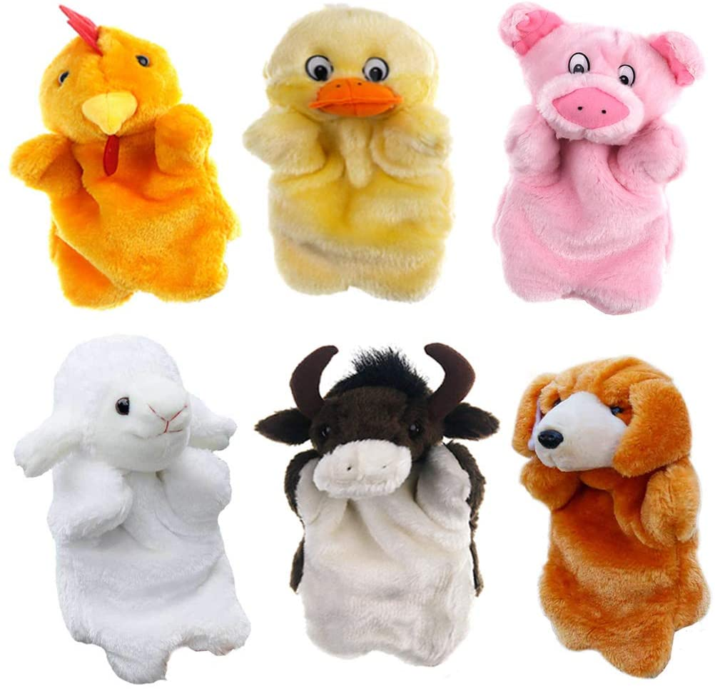 Hiawbon 6-Piece Set Farm Friends Stuffed Animal Hand Puppets for Parents Teachers Storytelling, Interactive Teaching and Role Play