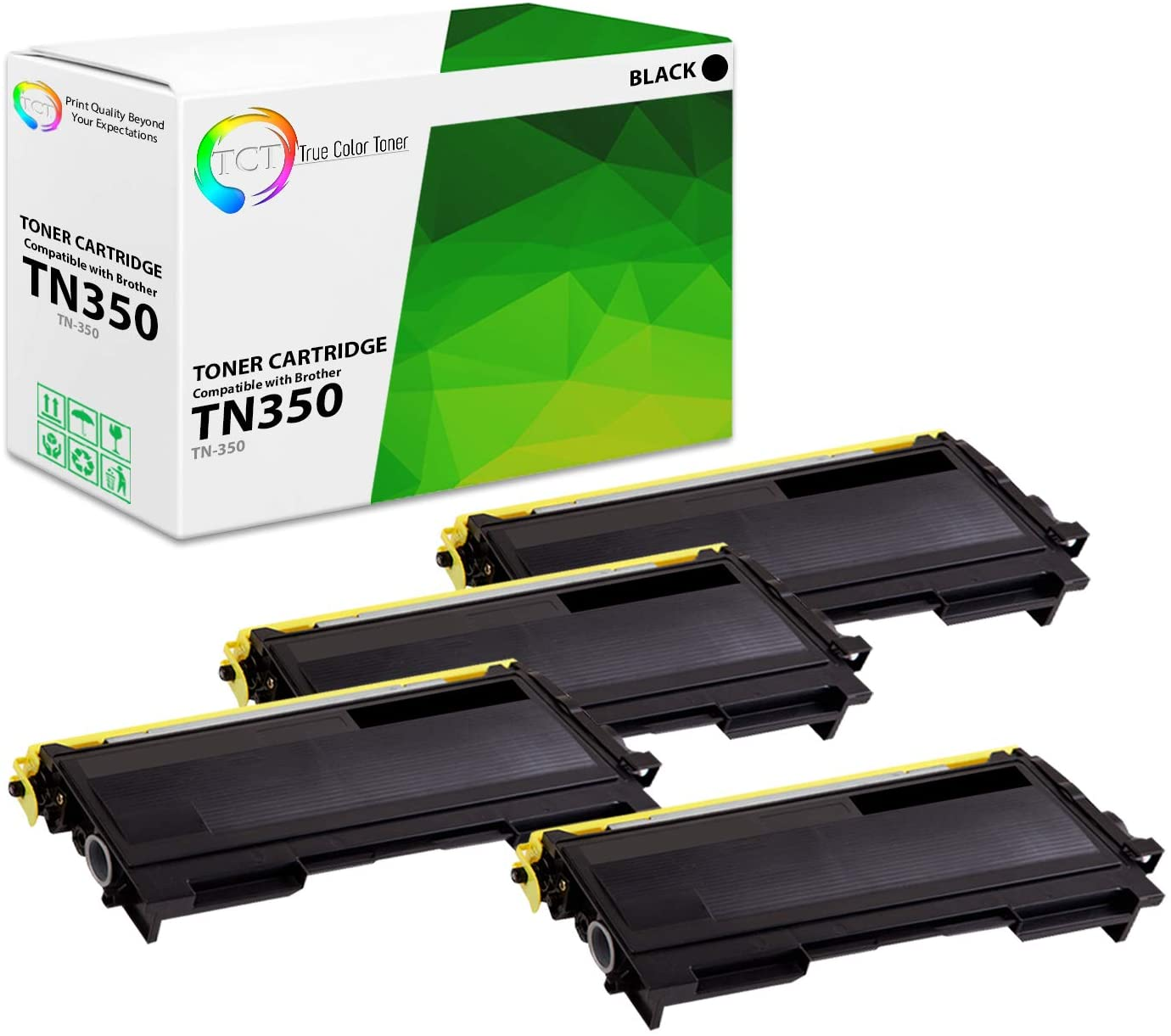 TCT Premium Compatible Toner Cartridge Replacement for Brother TN-350 TN350 Black Works with Brother HL-2030 2070N, DCP-7020, FAX-2820 2825 2920, MFC-7220 Printers (2,500 Pages) - 4 Pack