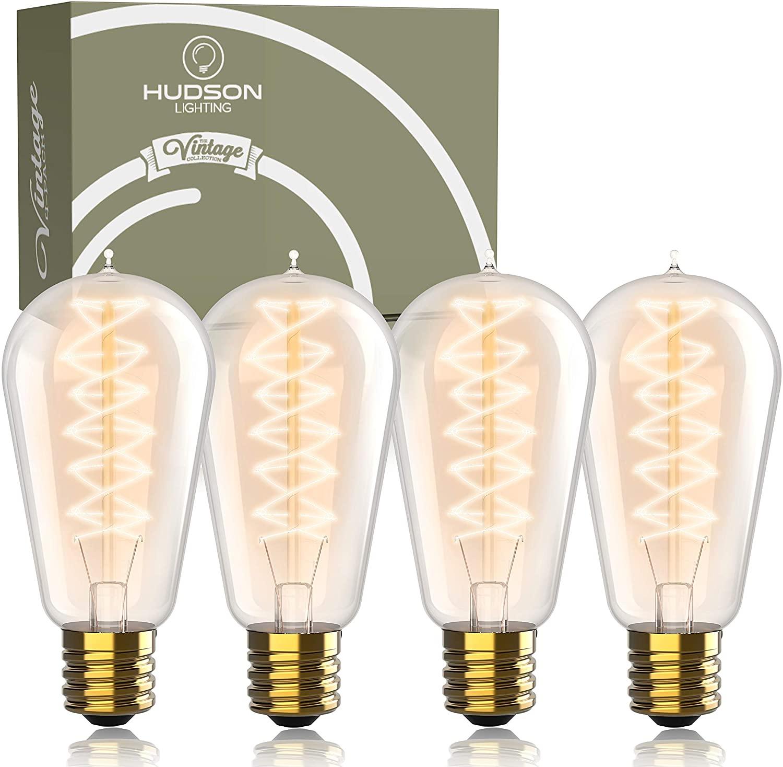 Vintage Incandescent Edison Light Bulbs: 60 Watt, 2100K Warm White Lightbulbs - E26 Base - Dimmable Antique Spiral Filament Edison Bulb Set - 4 Pack