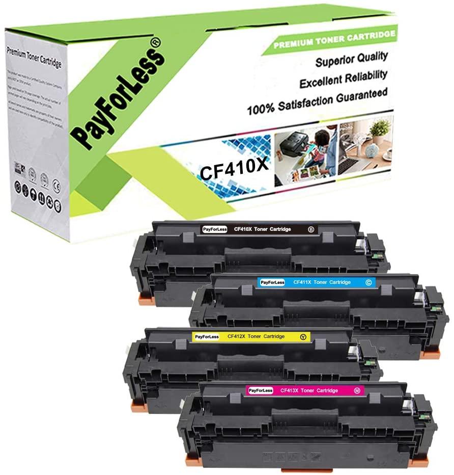 PayForLess 4PK for HP 410X CF410X 410A CF410A Toner for HP Color Laserjet Pro MFP M477fdw M477fnw M477fdn M377dw M452dw M452nw M452dn CF410X CF411X CF412X CF413X