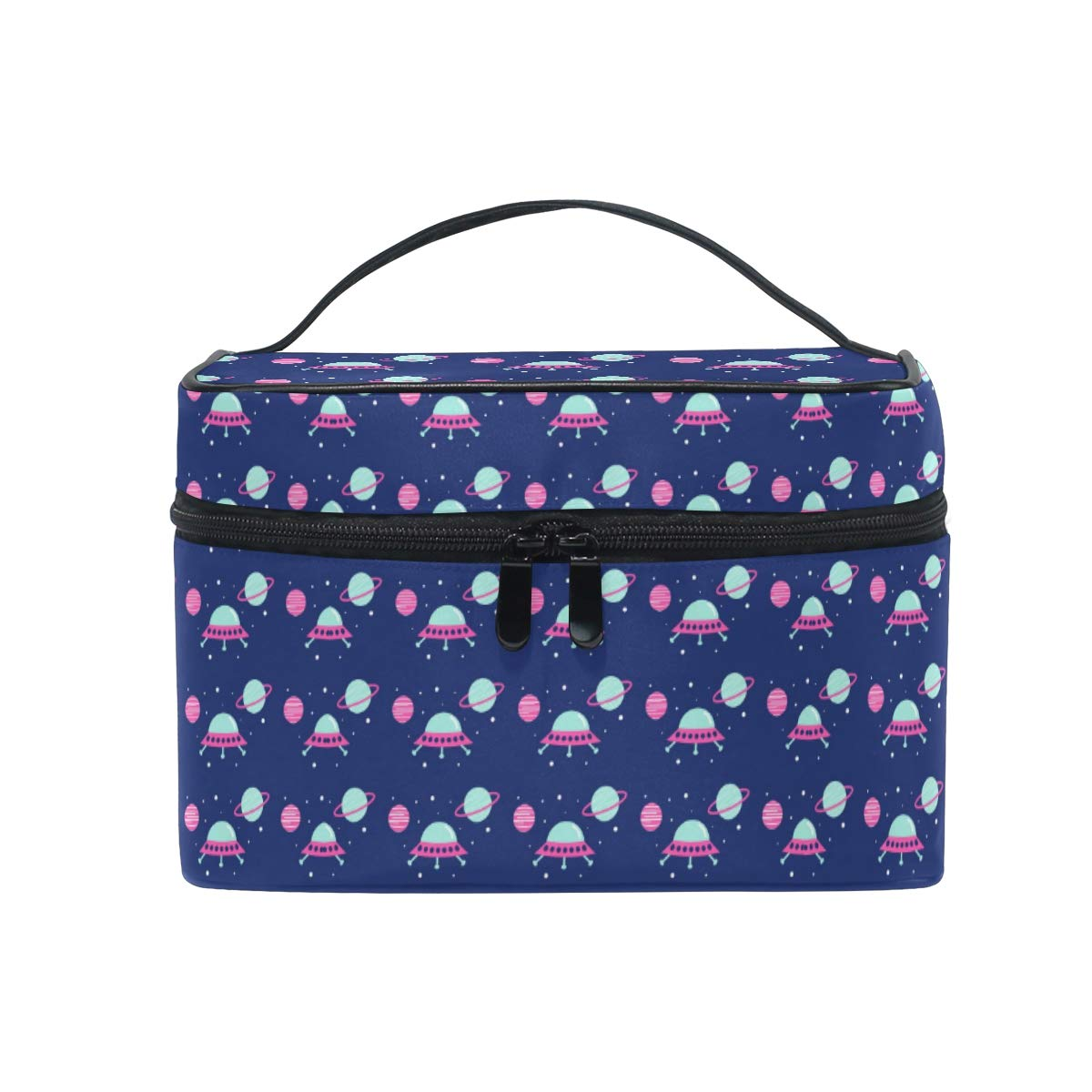 Makeup Bag Purple Flying Saucer Planets Travel Cosmetic Bags Organizer Train Case Toiletry Make Up Pouch