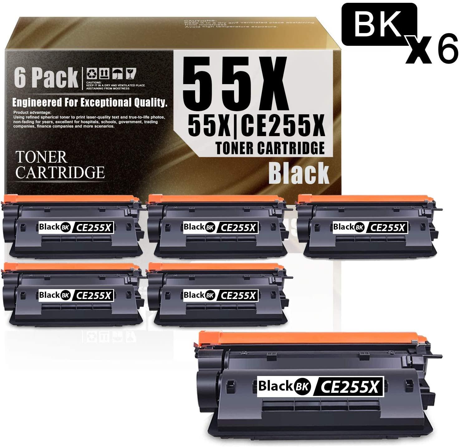 55X   CE255X(6-Pack Black) Compatible Ink Cartridge Replacement for HP Laserjet Pro MFP M521dn Pro MFP M521dw P3015d P3015n P3015dn P3015x Printers Toner Cartridge.