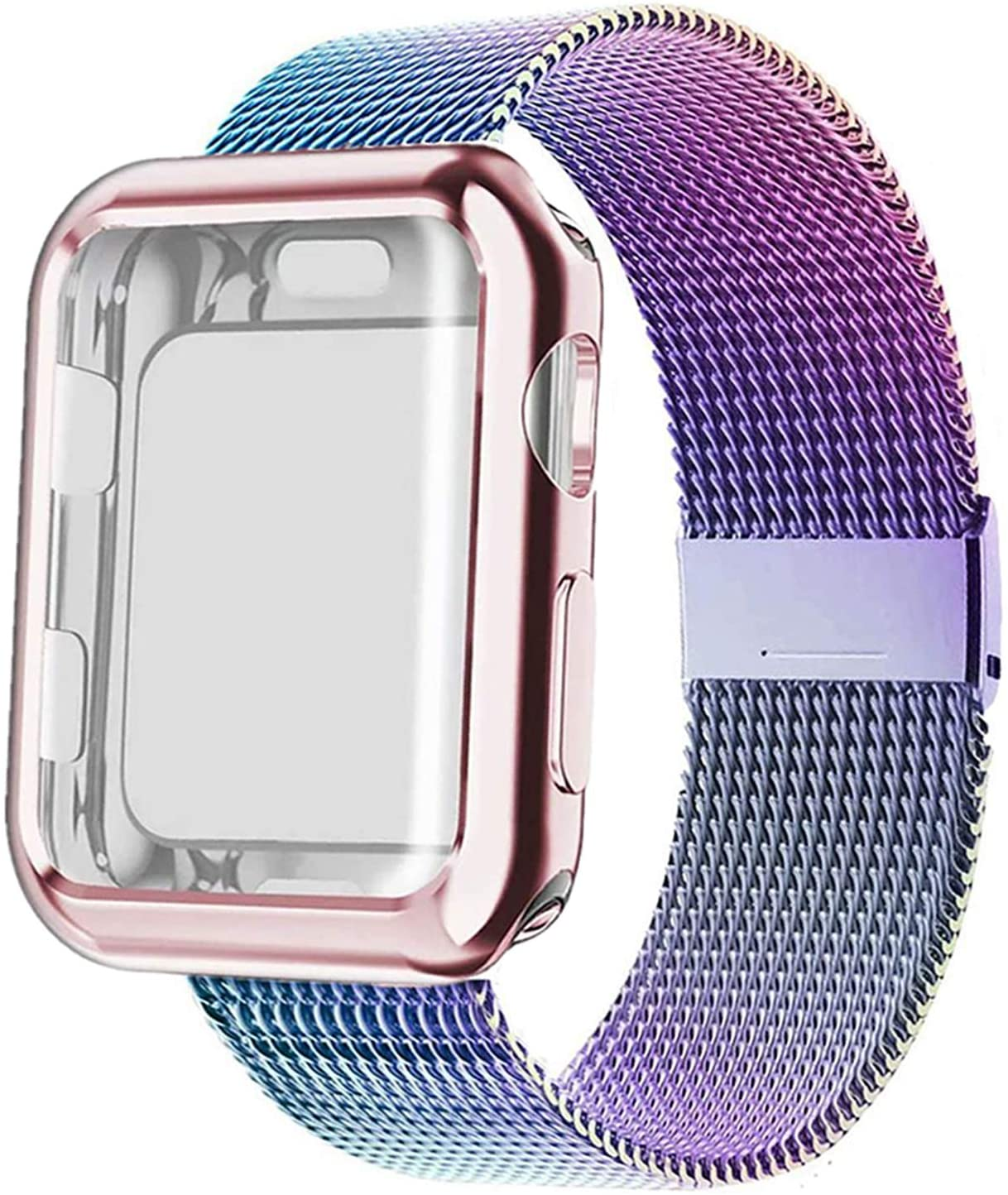 SinJonden Compatible with Apple Watch Band 38mm 40mm 42mm 44mm with Case,Stainless Steel Wristband with Protective Screen Case for iWatch Series 6/5/4/3/2/1/SE (Colorful with Rose Pink Case, 40mm)