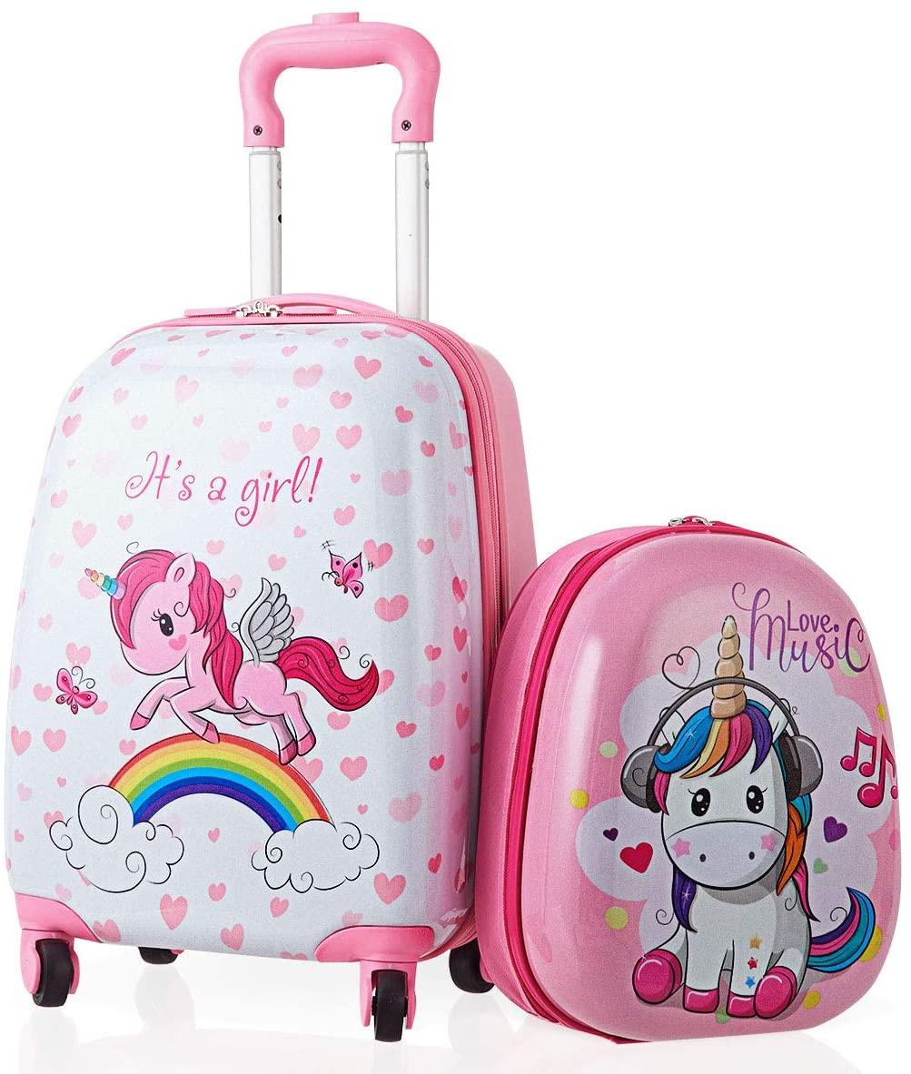 GYMAX 2Pcs Kids Carry On Luggage Set, 16