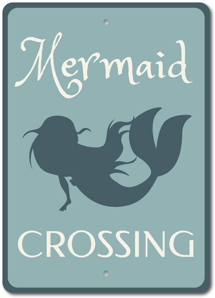 Mermaid Crossing Metal Sign Pool Beach Tin Metal Wall Plaque 12 X 8 Inches