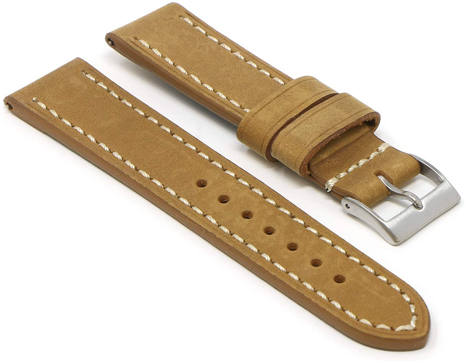 StrapsCo Vintage Leather Quick Release Watch Band Strap - Choose Your Color/Length - 16mm 18mm 19mm 20mm 21mm 22mm 24mm