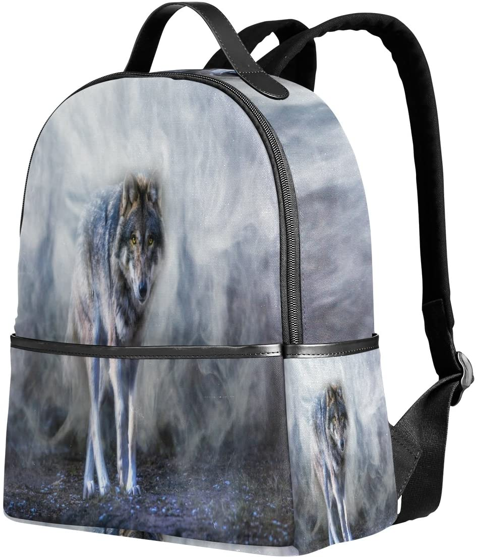 Use4 Wolf Runs through the Mist Polyester Backpack School Travel Bag