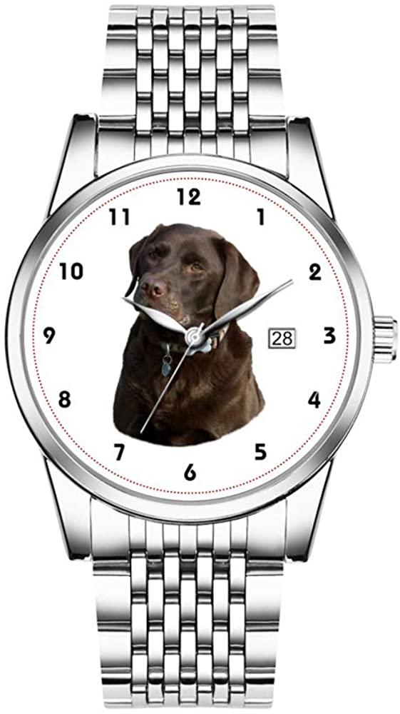 Christmas Watches Men's Fashion Japanese Quartz Date Silver Stainless Steel Bracelet Watch Chocolate Labrador Photo Portrait Wrist Watches