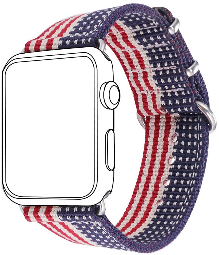 Bandmax Nylon Band Compatible For Apple Watch 42MM/44MM, American Flag Nylon Fabrics Replacement Strap Accessories For iWatch Series 5/4/3/2/1 mix Stainless Steel Classic Buckle(The Stars&Stripes)