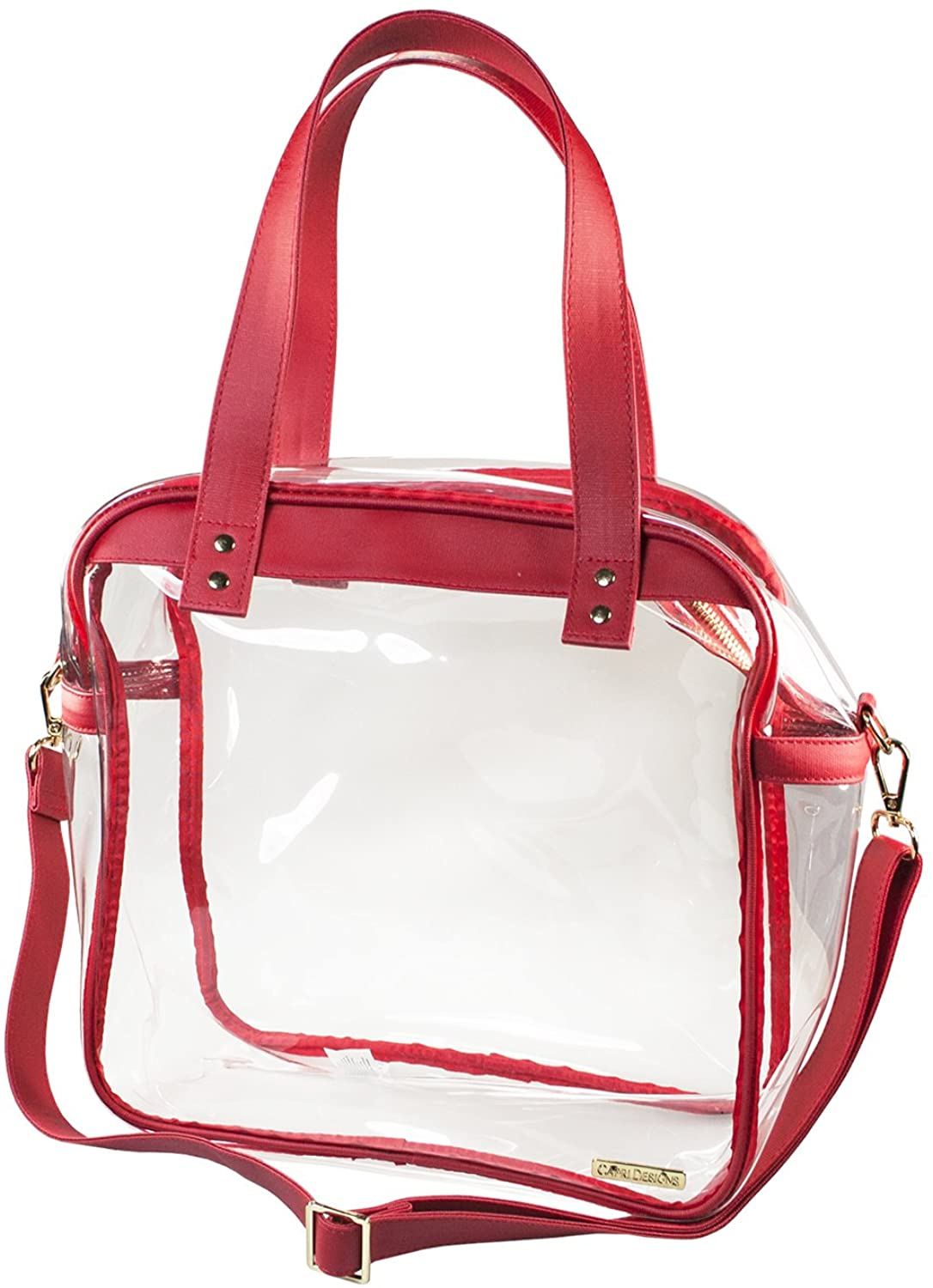 Capri Designs Clear Carryall Tote, Stadium Approved Transparent Purse for Women, Coated Cotton Canvas, 12x12x6 Inches