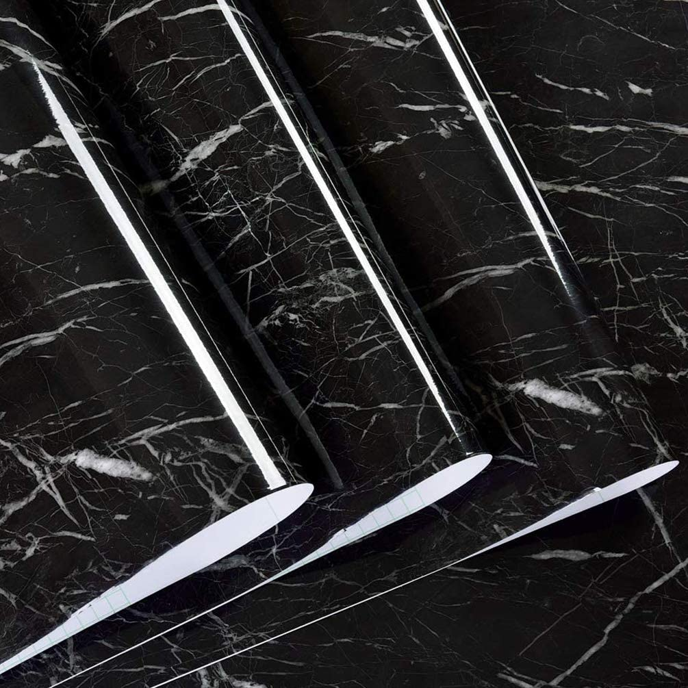 Tinkei 197'' x 24'' Black Marble Contact Paper Granite Self-Adhesive Wallpaper Countertop Decorative Peel-Stick for Home Kitchen Cabinets