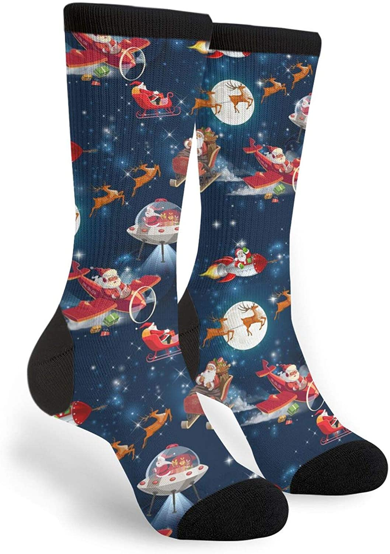Santa Astronaut Rockets Socks Women & Men Breathable Novelty Moisture Control Running Crew Socks