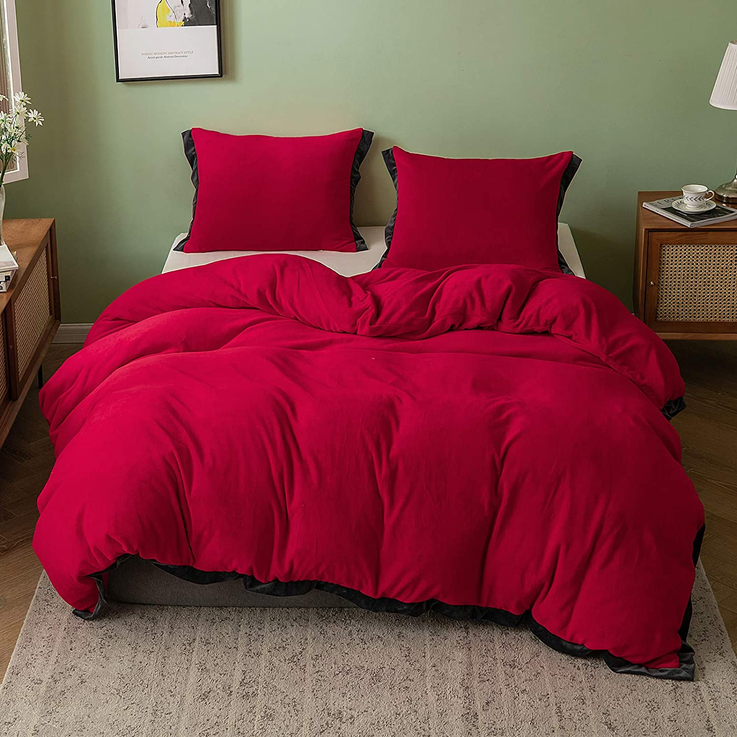 SIGOODS Home Duvet Cover Set 2 Pieces Set-Ultra Soft Skin-Friendly Milk Velvet Beding Decoration-Winter Warm Bedding Comforters Sets with 1 Pillowcase,Claret-Red,Twin 66