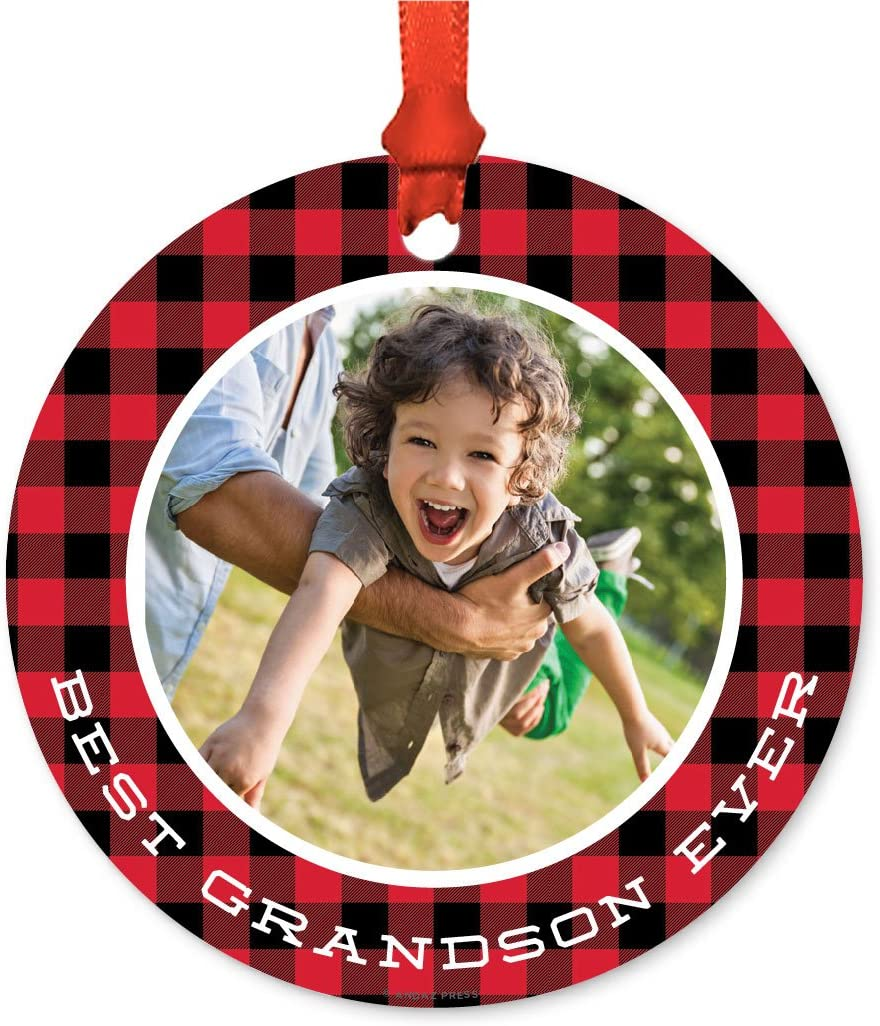 Andaz Press Photo Personalized Christmas Ornament, Buffalo Lumberjack Red Plaid, Best Grandson Ever, 1-Pack, Includes Ribbon and Gift Bag, Custom Image
