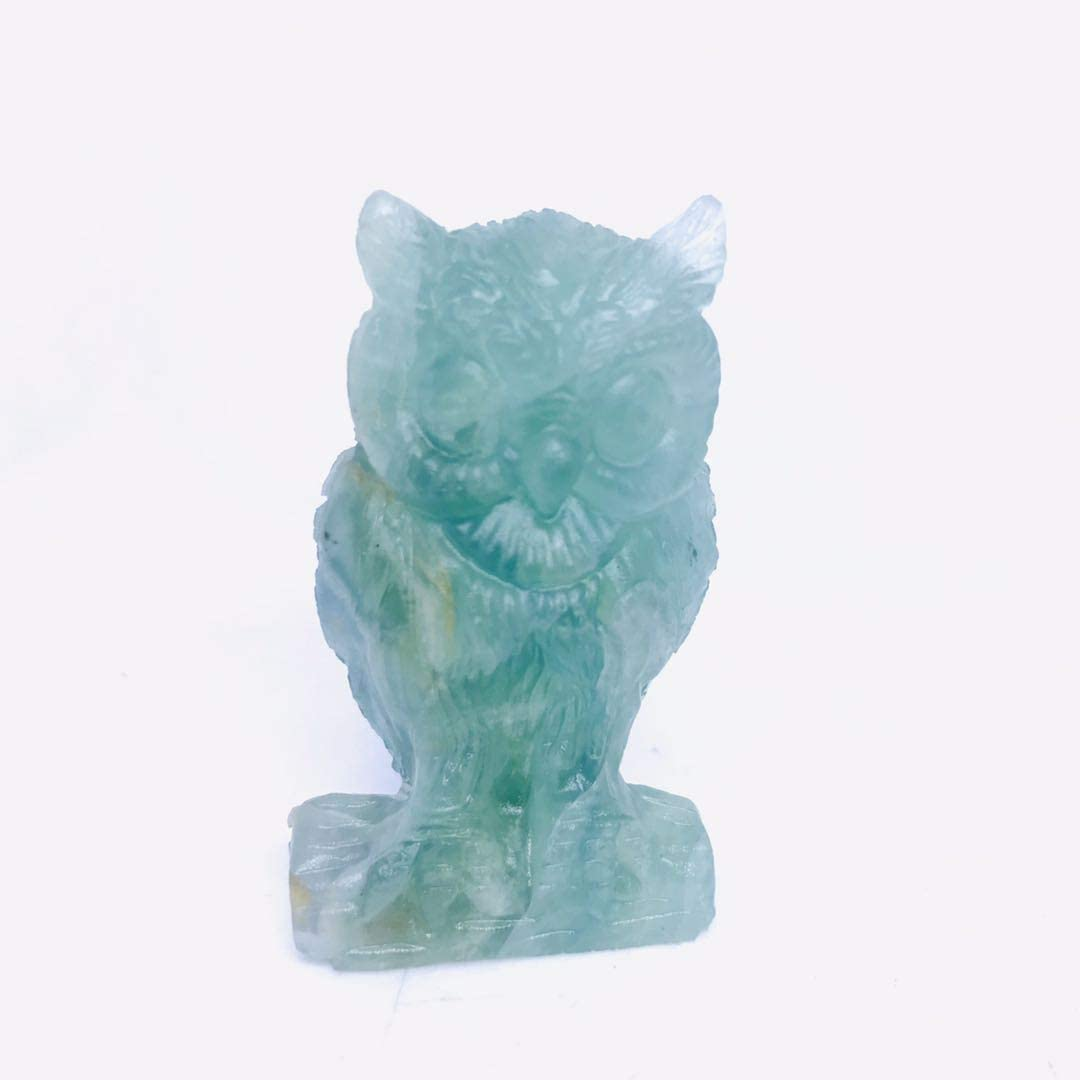 MOKA 2 inch Natural Green Fluorite Quartz Crystal owl Animal Figurine for Decor