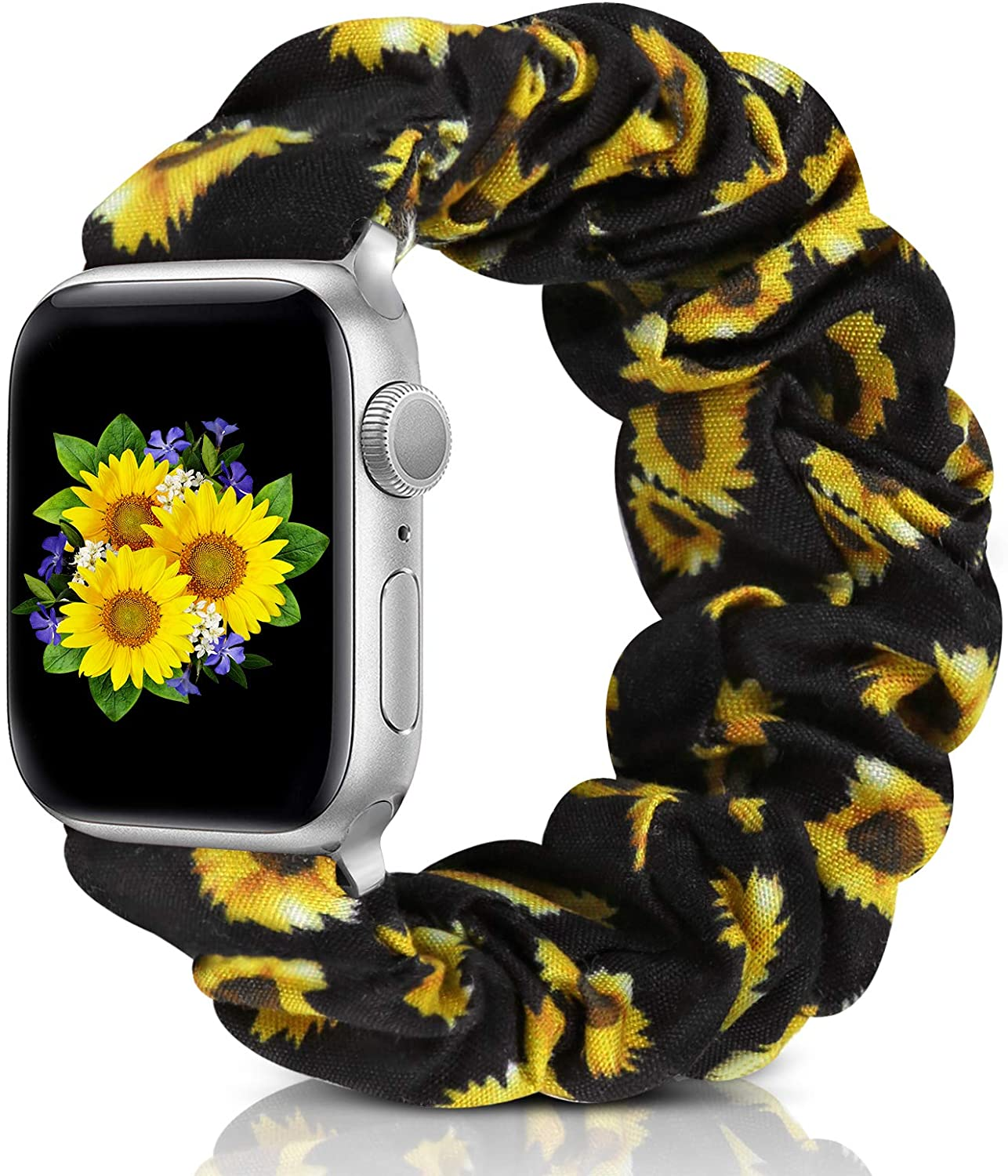 Compatible with Apple Watch Band 38mm 42mm 40mm 44mm iWatch Series 6 SE 5 4 3 2 1 Scrunchie Elastic Watch Band for Apple Watch(Sunflower-42mm/44mm/M)