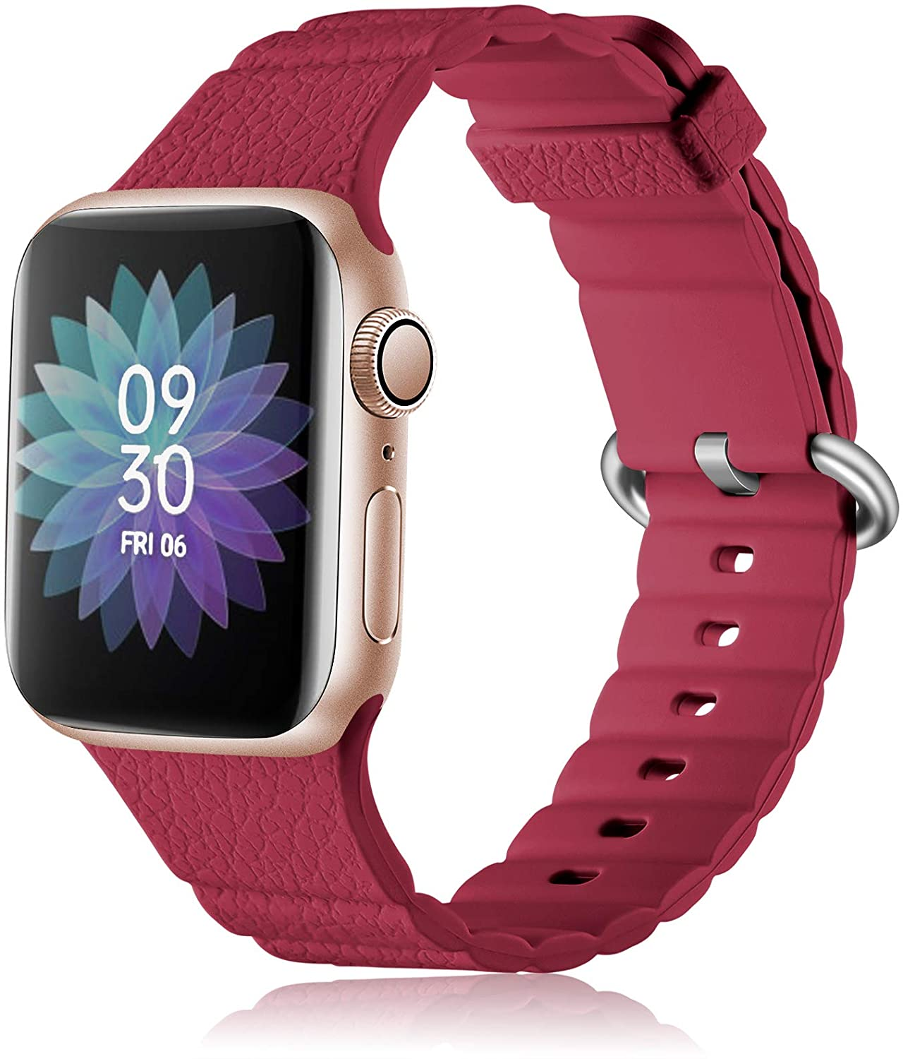 LEOMAON Watch Band Compatible with Apple Watch 40mm 44mm 38mm 42mm, Series 6 SE 5 4 3 2 1, Soft Silicone Replacement Strap for iWatch Series 6 SE 5 4 3 2 1 Unique Wave Pattern, Red