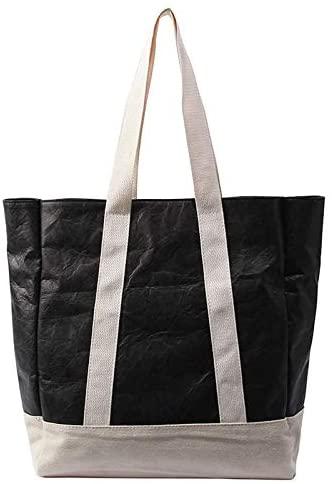 Fashion Lightweight Tote Shoulder Bag Washable Waterproof Kraft Paper Tote Bag With Leather Straps,Shoulder Bags for Women(Black)