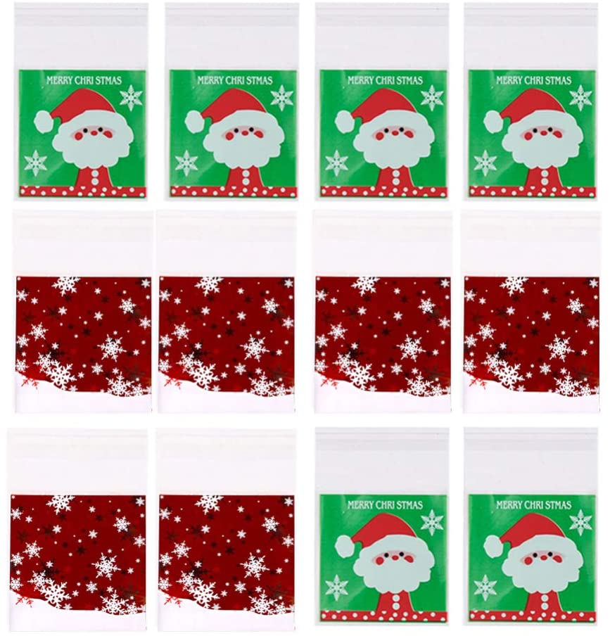 TOYANDONA Christmas Cookie Treat Bags Holiday Candy Bags Self Adhesive Biscuit Bags Clear Cellophane Gift Bags for Winter Holiday Birthday Party Supplies 200pcs Random Pattern