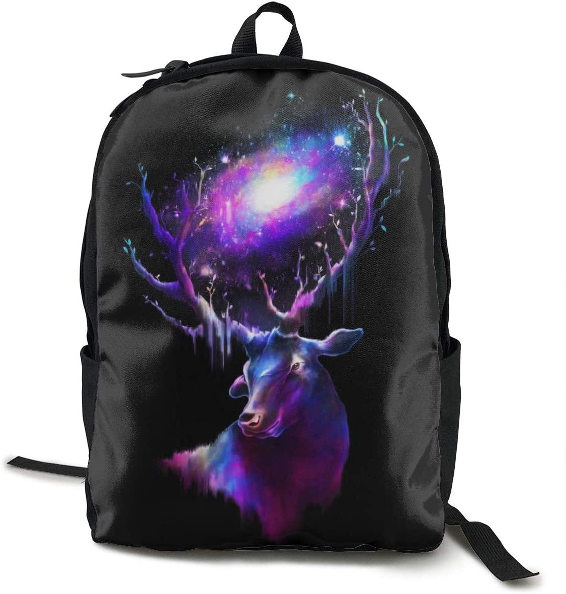 NiYoung Women Men Fashion Large Capacity Anti Thief Travel Business Computer Backpack, Durable Waterproof College School Students Bookbag - Galaxy Elk Deer Universe