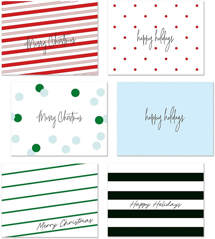 Merry Christmas Happy Holidays Blank Greeting Cards, 36 Bulk Box Set Pack of 4