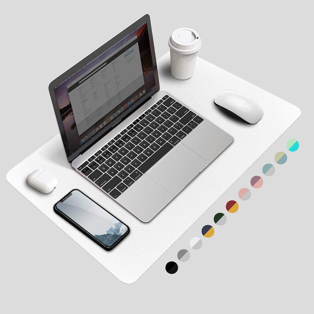 BUBM Desk Pad Protector, Waterproof PU Leather Office Desk Mat Desk Writing Mat Laptop Large Mouse Pad Desk Blotters Desk Décor for Office Home, 23.6
