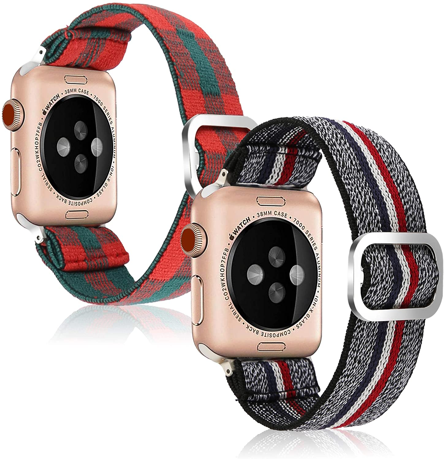 Adjustable Elastic Strap Band for Apple Watch, 38mm 40mm, Men and Boys Band Strap Bracelet Scrunchie Watch Band for iWatch Series 1 2 3 4 5 6 SE(2pack)
