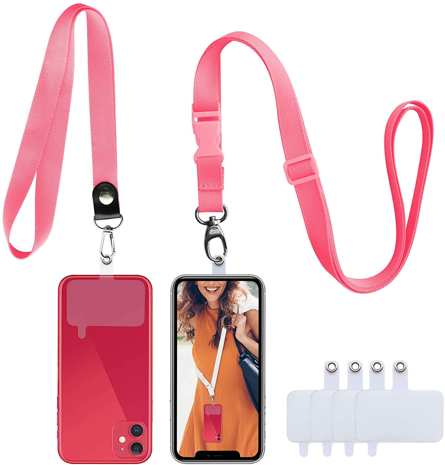 ROCONTRIP Phone Lanyard Universal Crossbody Shoulder Cell Phone Lanyard and Neck Around Strap Set 2 Pcs Lanyards with 4 PVC Patchs Compatible with iPhone Samsung & Most Smartphones (Pink)