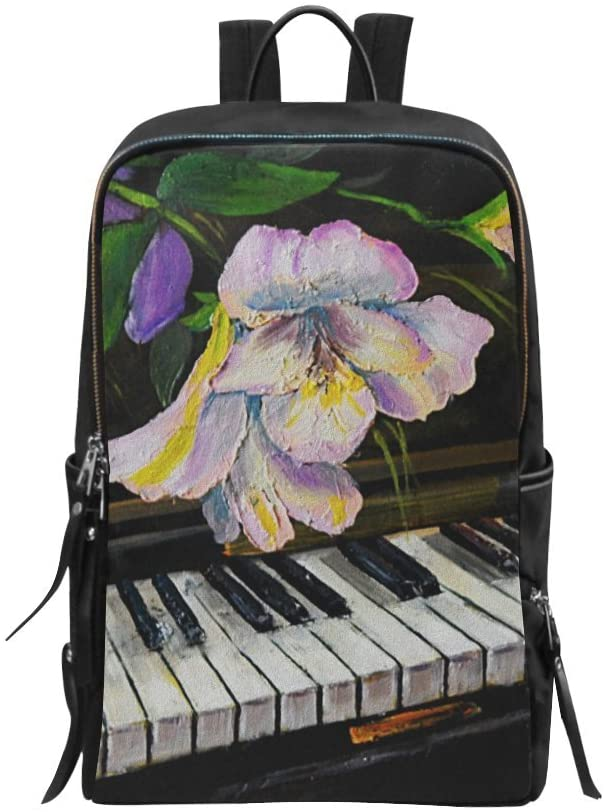 Bag Backpack Vintage Artwork Decor Piano and Flowers Daypack