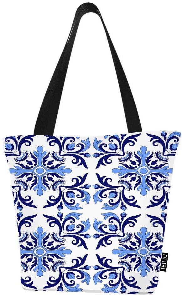 IBILIU Ethnic Flower Shoulder Tote Bag For Women,Traditional Portuguese Oriental Floral art deco Blue Medium Shoulder bags Zipper Handbags Shopping Grocery bag for Office,School,outdoors