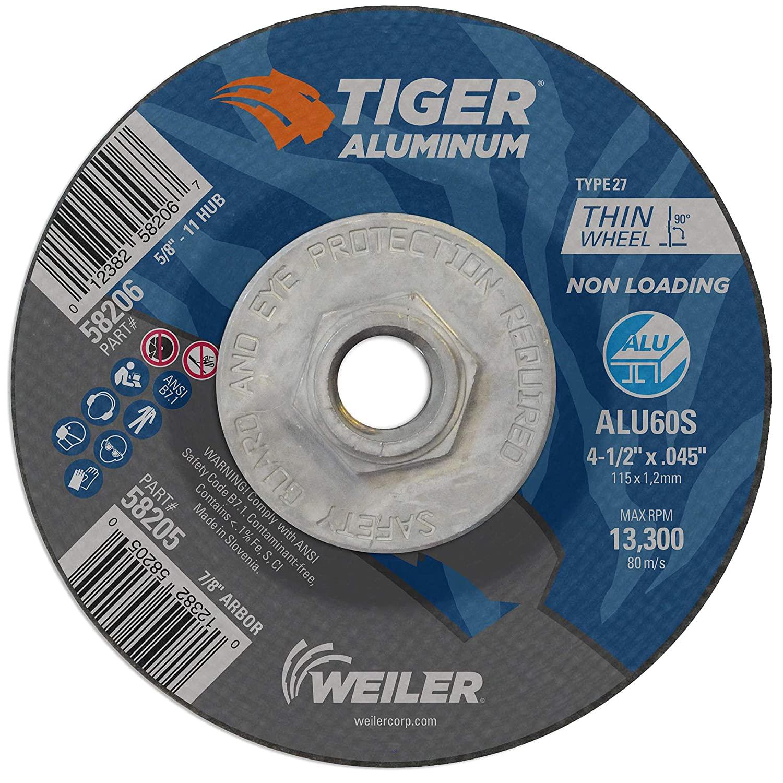 Weiler 58206 4-1/2 x .045 Tiger Aluminum Type 27 Cut Off Wheel ALU60S 5/8-11 UNC Nut (Pack of 10), 4-1/2