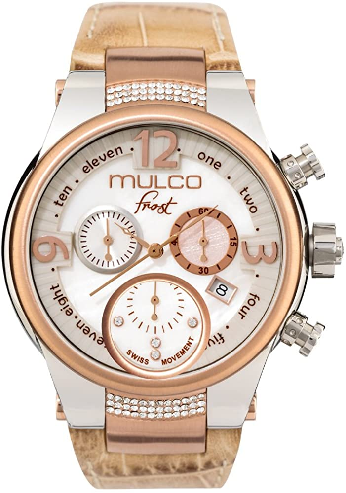 Mulco Frost Ladies Quartz Swiss Chronograph Movement Women's Watch | Mother of Pearl Sundial with Rose Gold and Swarovski Accents | Beige Watch Band | Water Resistant MW5-2601-113