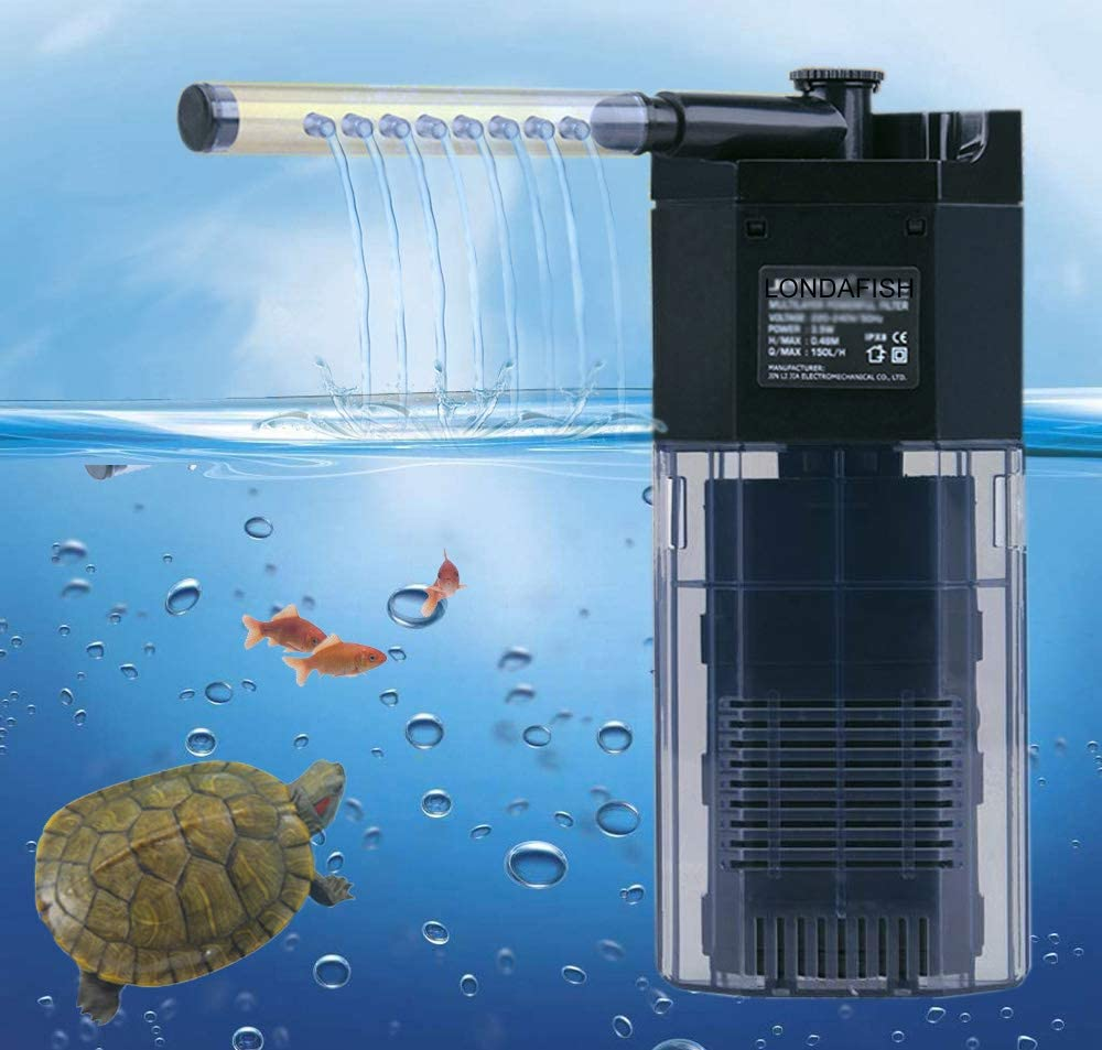 LONDAFISH Quiet Multi-Function Built-in Fish Tank Aquarium 3-Stage Filter with Water Pump