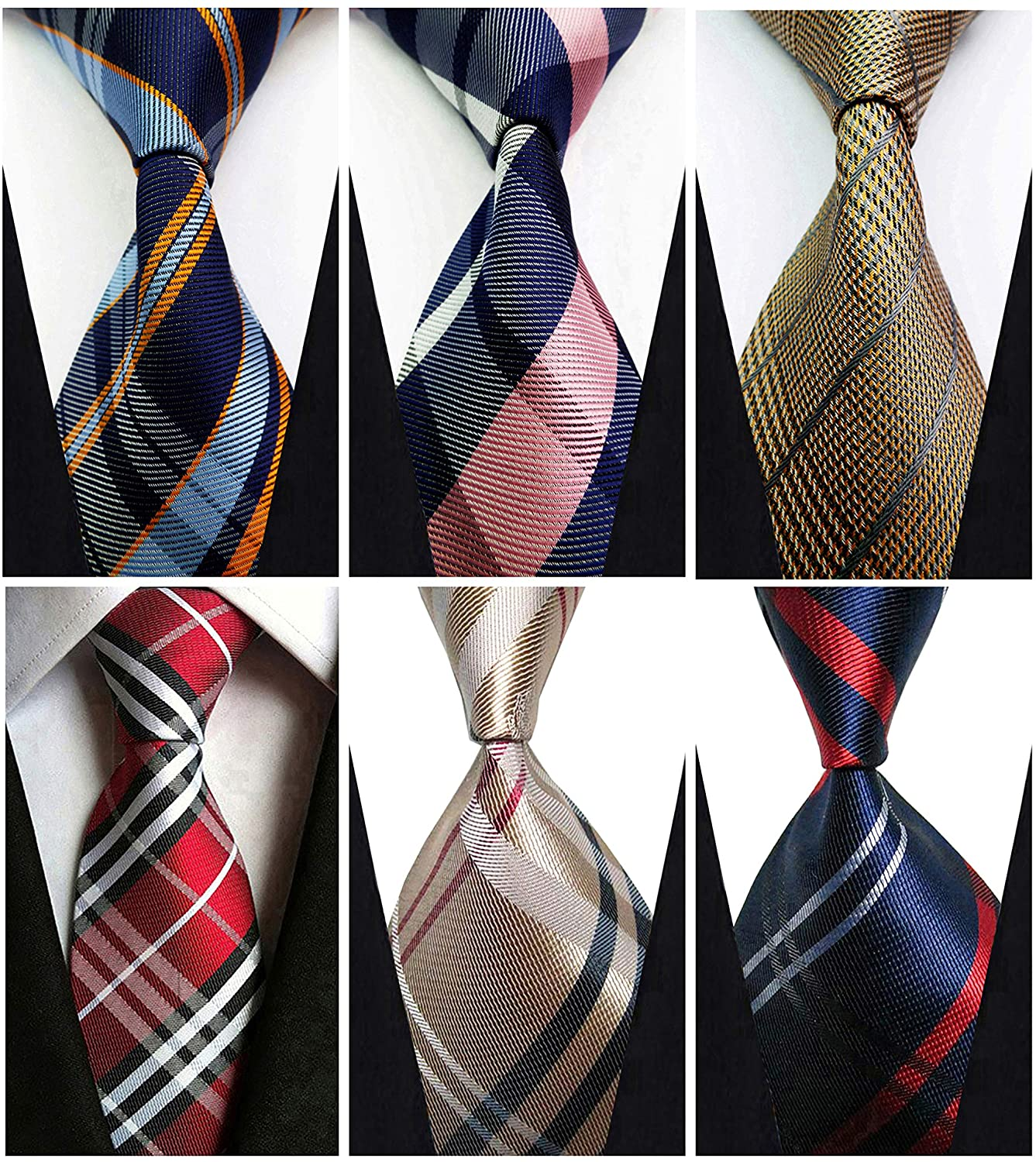 Set of 6 w3dayup mens Classic Tie Necktie Woven JACQUARD Neck Ties For Men