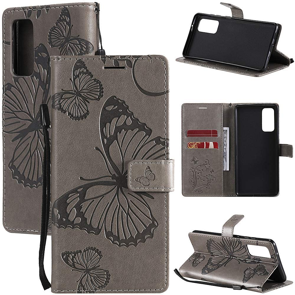 MEUPZZK Wallet Case for Samsung Galaxy S20 FE (5G), Embossed Butterfly Premium PU Leather [Folio Flip] [Kickstand] [Card Slots] [Wrist Strap] [6.5 inch] Cover for Samsung S20 FE (B-Grey)
