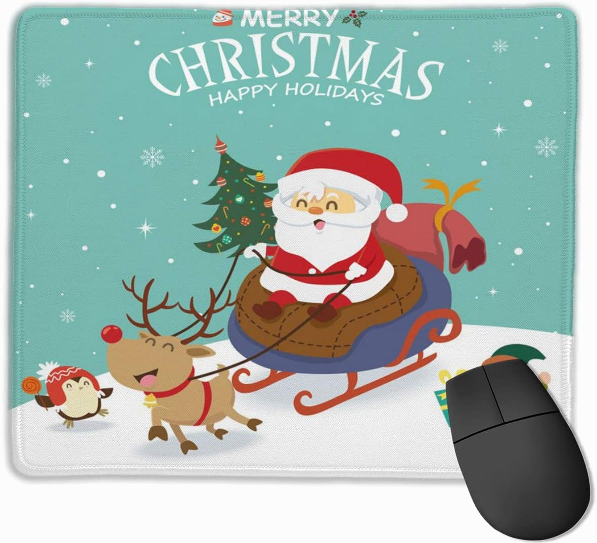 Santa Claus in sled with Snowman Hustle Mouse Pad for Laptop Rectangular Non-Slip Gaming Mousepad Home Office Computer Pink