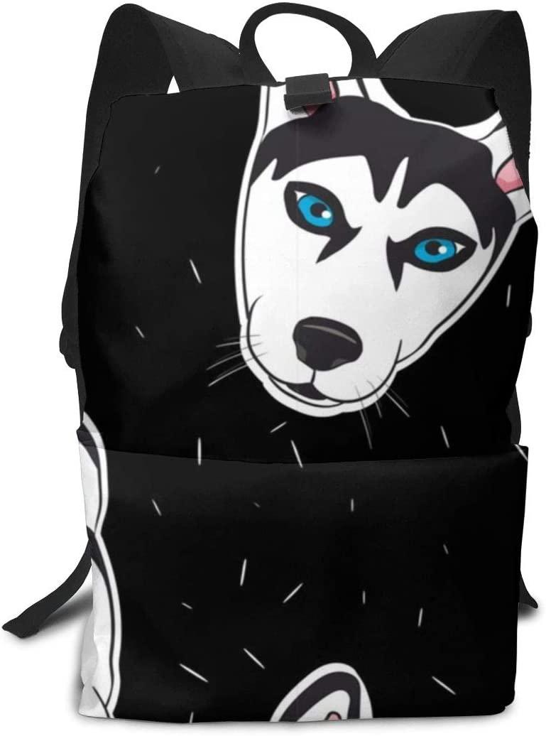 XUJ YOGA Business Laptop Backpack Fashion Casual Daypacks Outdoor Sports Rucksack School Shoulder Bag for Men Women Tear Resistant Travelling Backpack - Husky Head