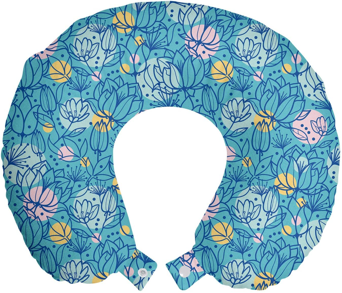 Ambesonne Botanical Travel Pillow Neck Rest, Abstract Flowers and Leaves Colorful Circles on Blue Backdrop Spring Time, Memory Foam Traveling Accessory for Airplane and Car, 12