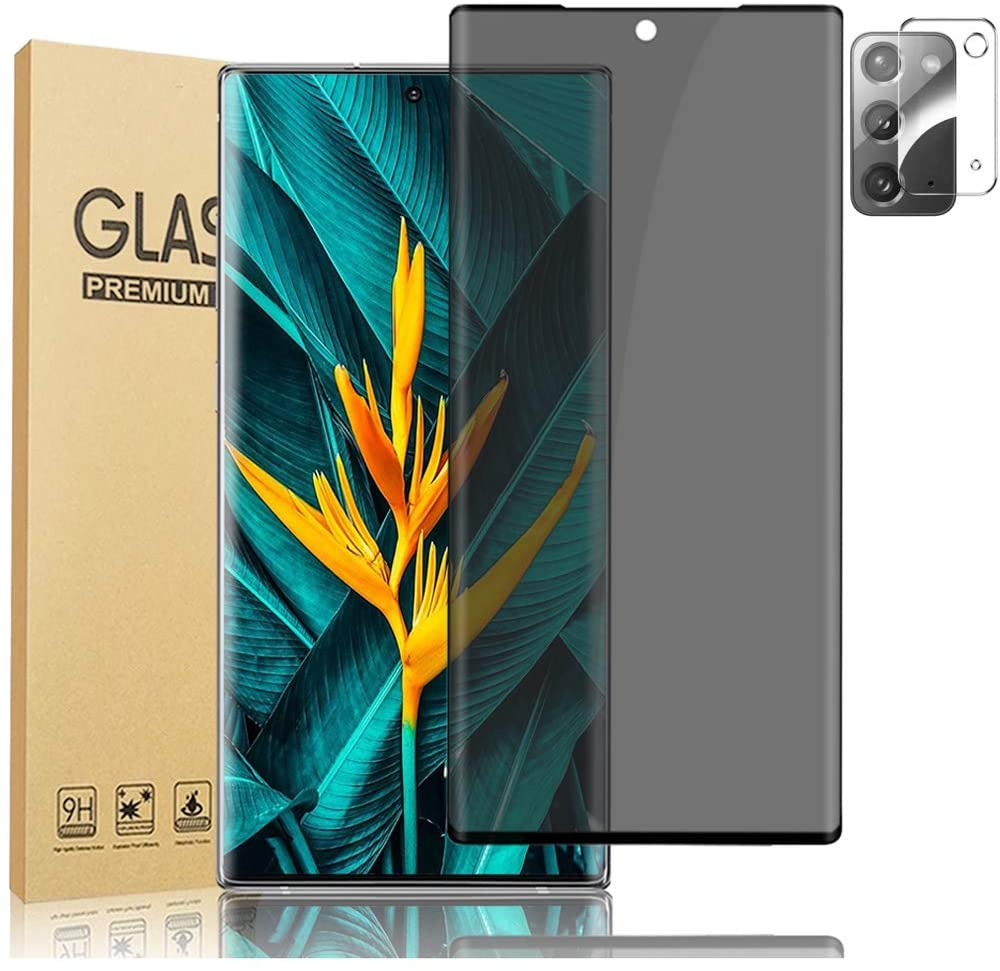 [1+1] Galaxy Note 20 5G Privacy Screen Protector, with Camera Lens Protector, 9H Tempered Glass Anti-spy 3D Curved Full Coverage Glass Screen HD Film for Samsung Galaxy Note 20 (6.7 Inch)