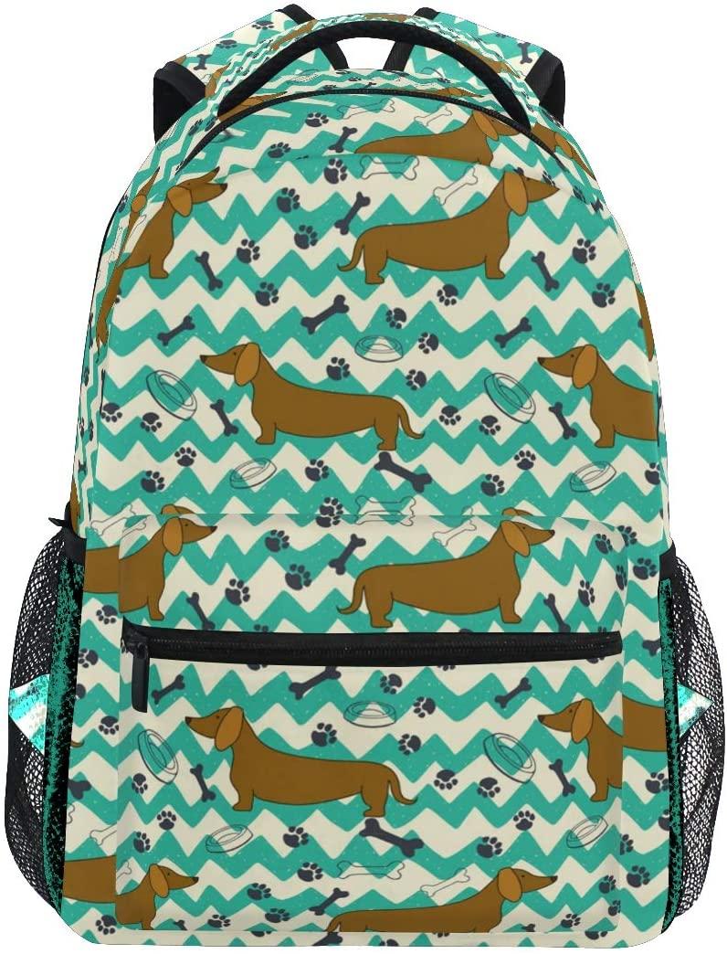 Retro Dachshund Dog Paw Backpack for Boys Kids Girls Backpacks for Elementary School Bags Cute Bookbag for Kids 3rd 4th 5th Grade