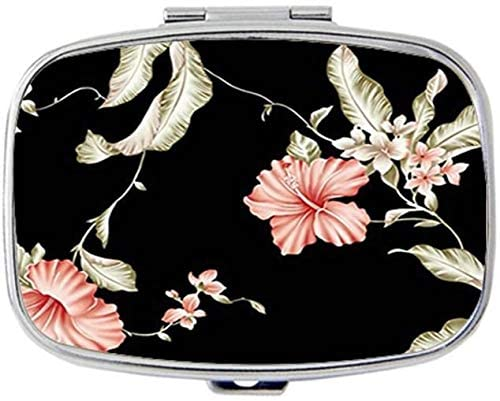Beautiful Roses Pill Case for Purse Pocket Pill Organizer with 3 Compartments Silver 2.1 Inches Portable Vitamin Medicine Case Holder (Bird Multipurpose Flowers)