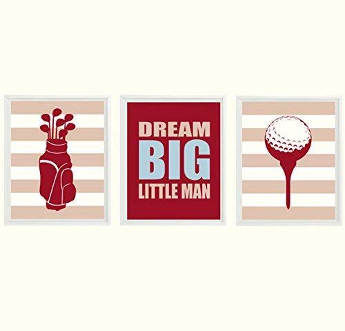 Golf Wall Art, Baby Boy Nursery, Golf Nursery Prints, Dream Big Little Man, Dark Red, Tan, Blue, Boy Room Decor, Toddler Wall Art, Golf Art