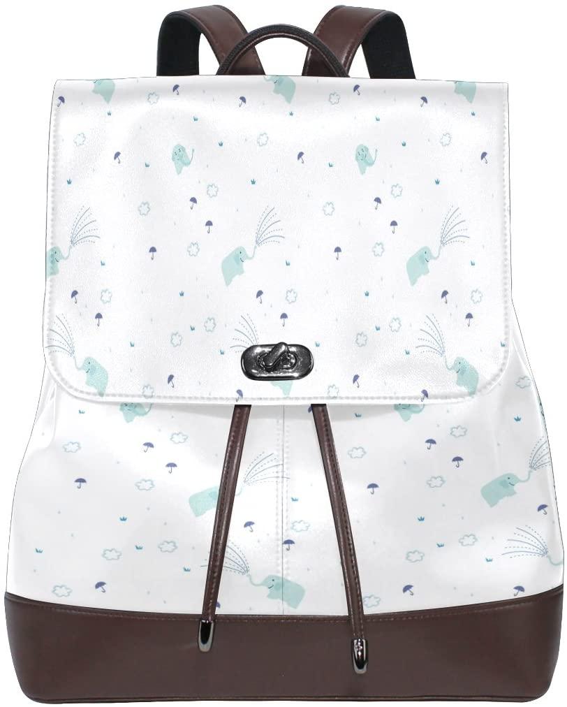 Women Genuine Leather Backpack Elephant Background Lady Travel Shoulders Bag Daypack Girl Schoolbag