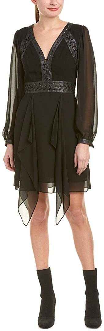 BCBGMax Azria Womens Andela Woven Dress with Faux Leather Lacing