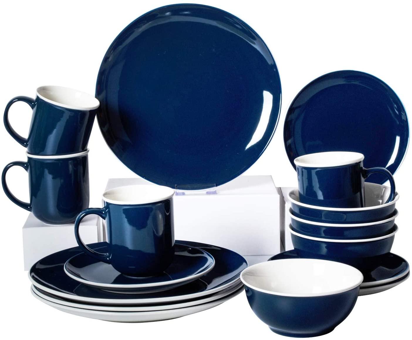 Xiteliy Ceramic Dinner Plate Sets, Plates, Bowls, Mugs, 4 Piece,Service For 4 (16, Blue)