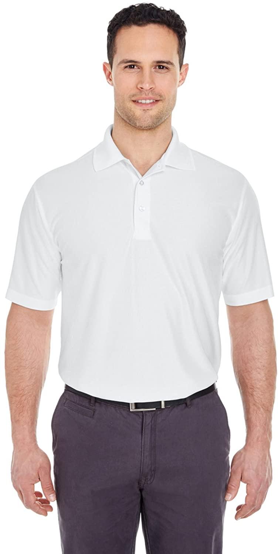 UltraClub Men's Cool & Dry Polo Shirt, White, Medium. (Pack of 10)