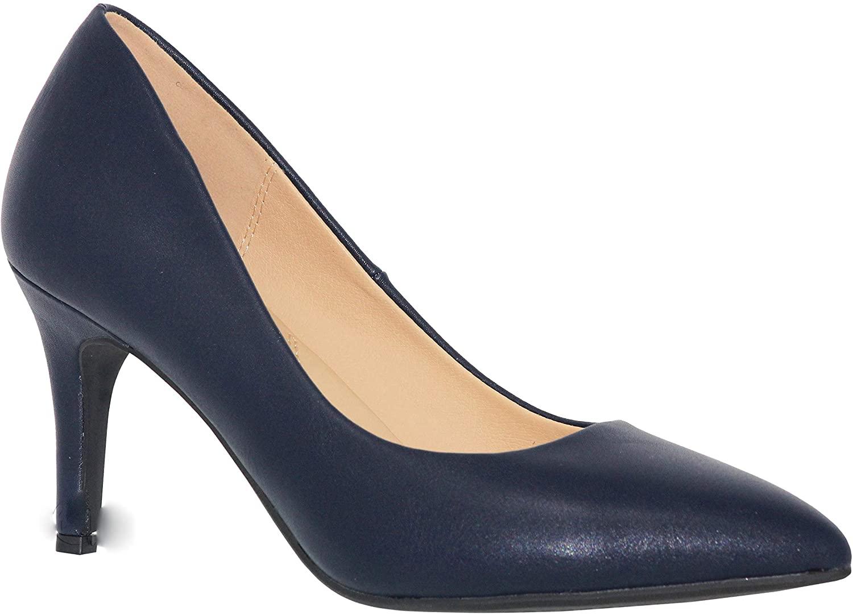 MVE Shoes Womens Stylish Comfortable Closed Round Toe Low Heel Pump