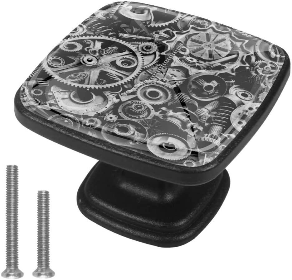 HadHfun Drawer pulls Machine Parts Cabinet knobs 4 Pack Glass Wardrobe knobs for Decoration 1.18x0.82x0.78 in